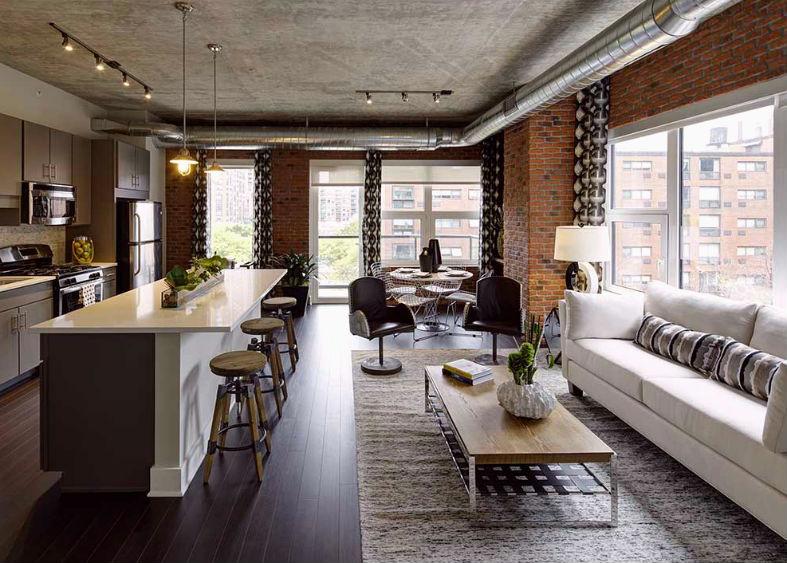 Дизайн на дневната част в Лофт апартамент