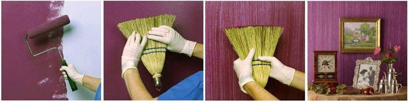 ефект с метла върху стени