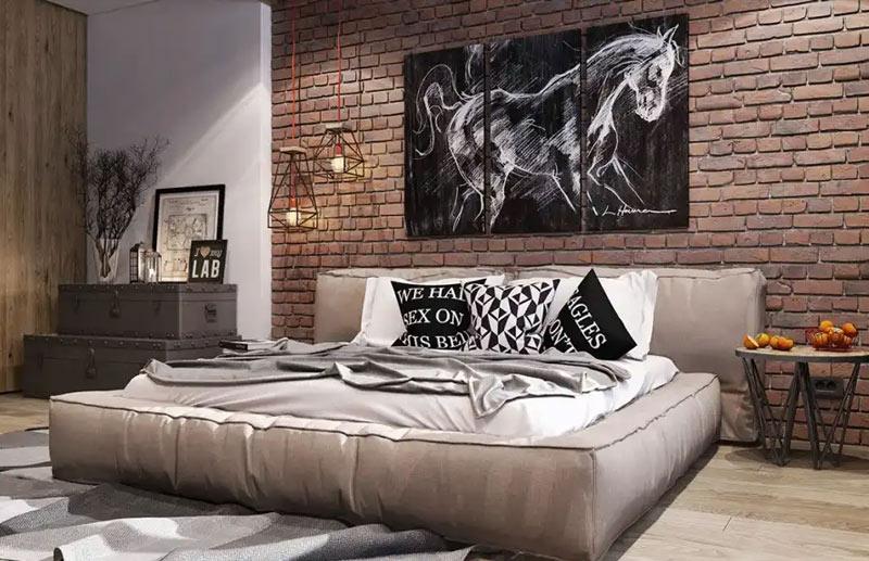 стена декоративна тухла в спалня